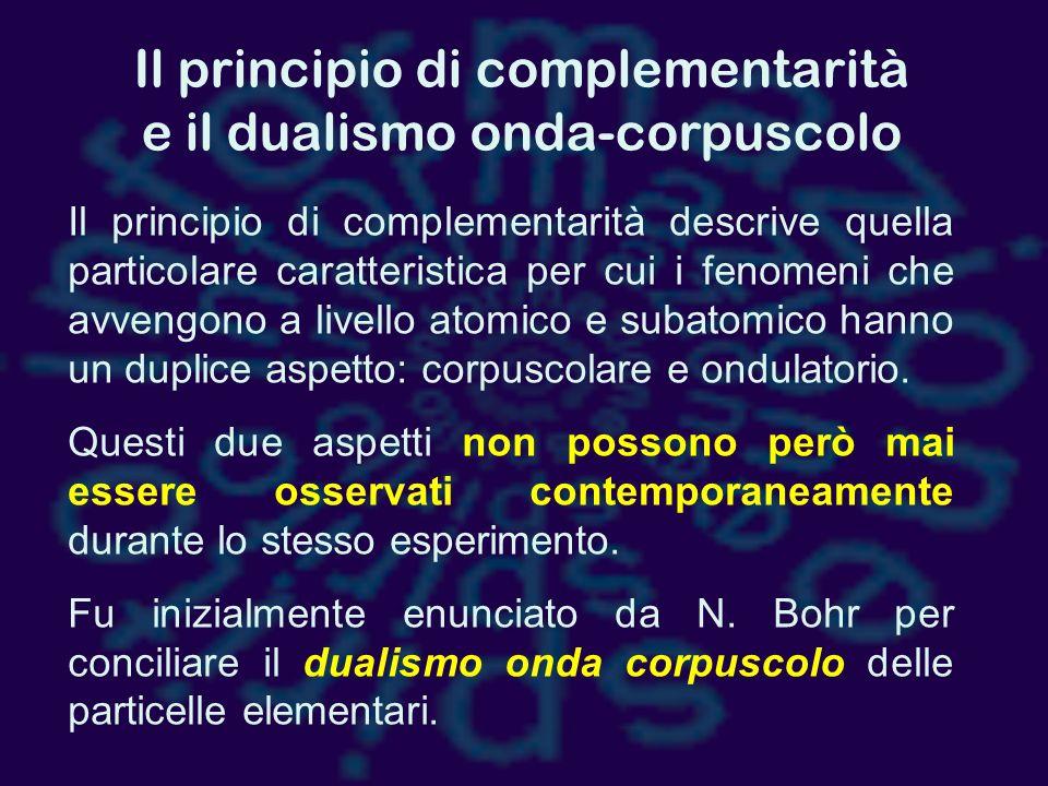 Il principio di complementarità e il dualismo onda-corpuscolo