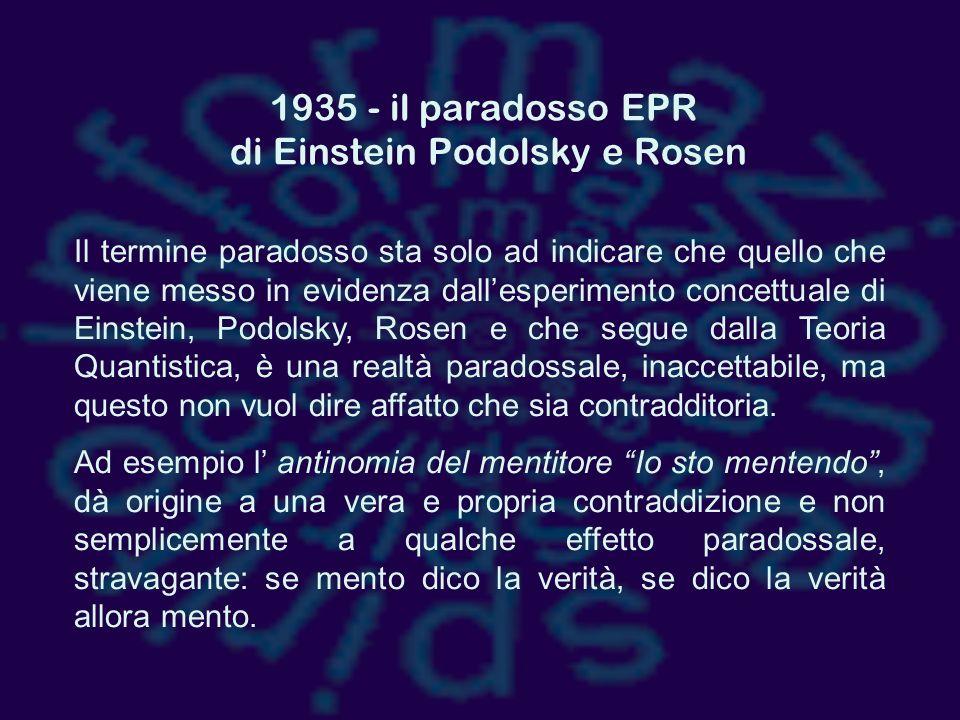 1935 - il paradosso EPR di Einstein Podolsky e Rosen