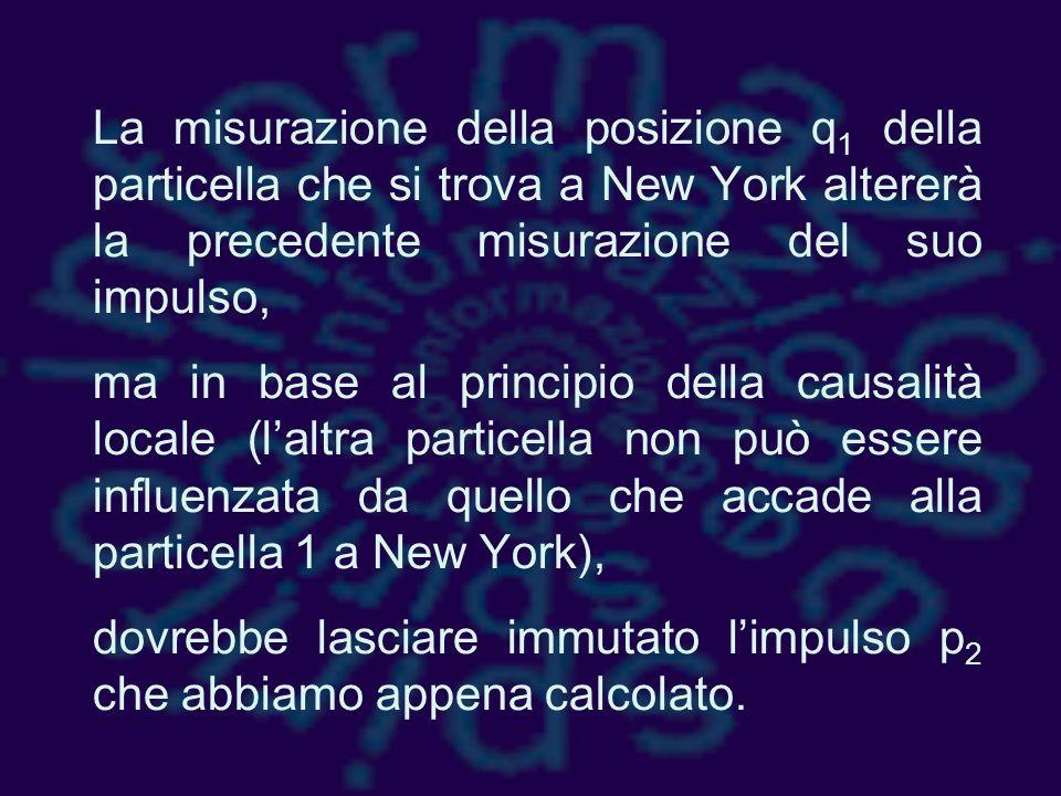 La misurazione della posizione q1 della particella che si trova a New York altererà la precedente misurazione del suo impulso,