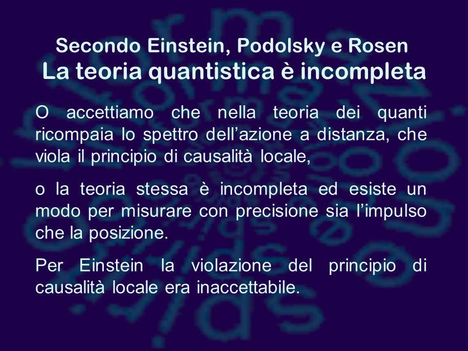 Secondo Einstein, Podolsky e Rosen
