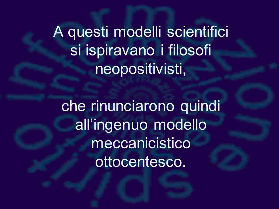 A questi modelli scientifici si ispiravano i filosofi neopositivisti, che rinunciarono quindi all'ingenuo modello meccanicistico ottocentesco.