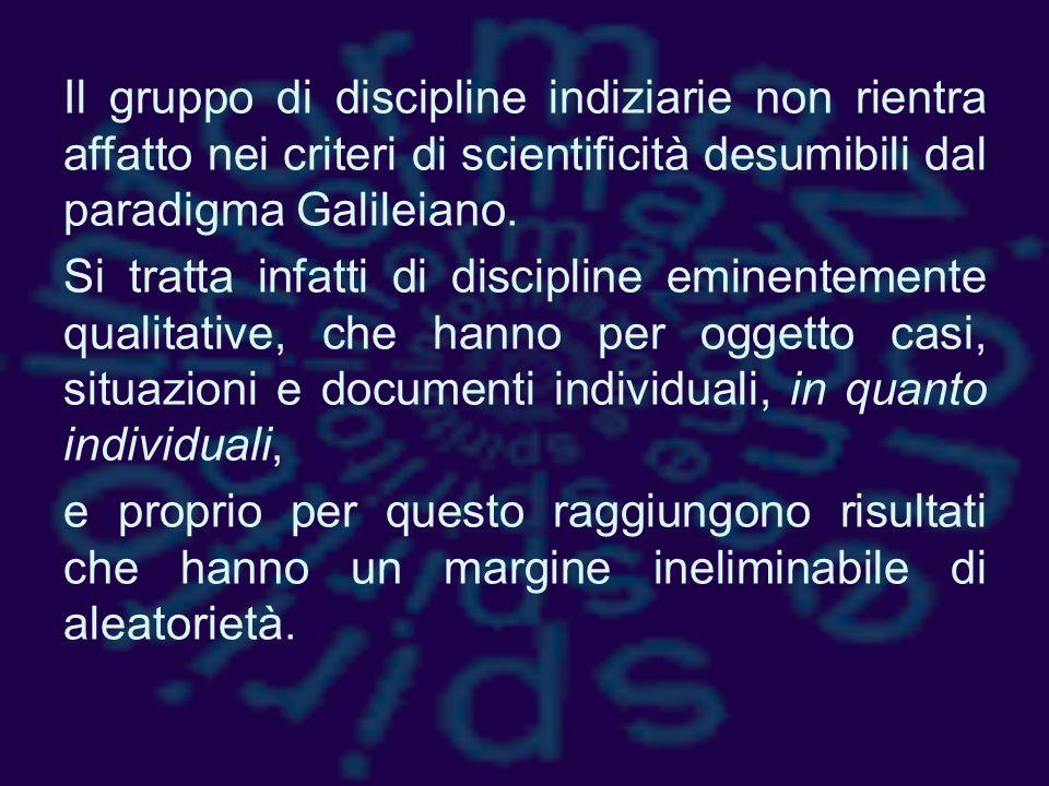 Il gruppo di discipline indiziarie non rientra affatto nei criteri di scientificità desumibili dal paradigma Galileiano.