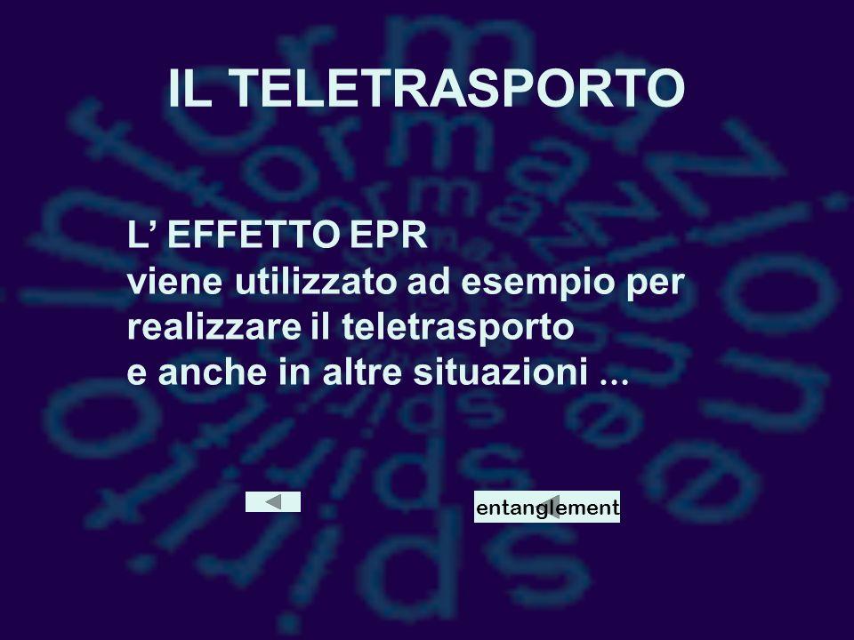 IL TELETRASPORTO L' EFFETTO EPR viene utilizzato ad esempio per realizzare il teletrasporto e anche in altre situazioni …
