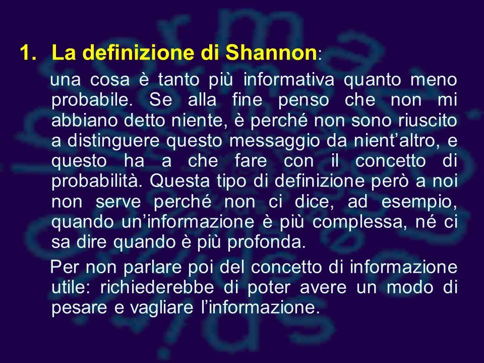 La definizione di Shannon: