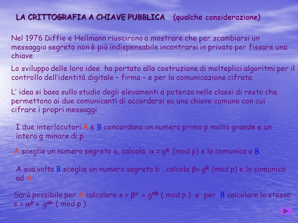 LA CRITTOGRAFIA A CHIAVE PUBBLICA (qualche considerazione)