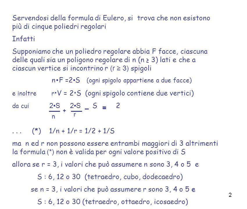 n•F =2•S (ogni spigolo appartiene a due facce)