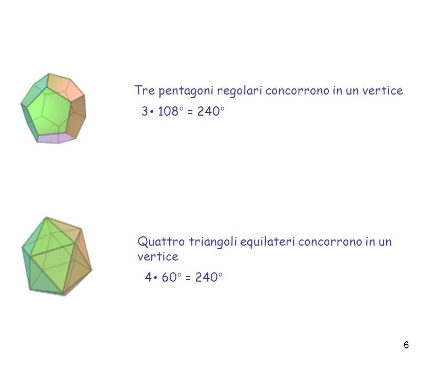 Tre pentagoni regolari concorrono in un vertice