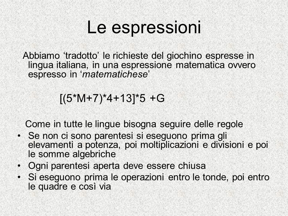 Le espressioni