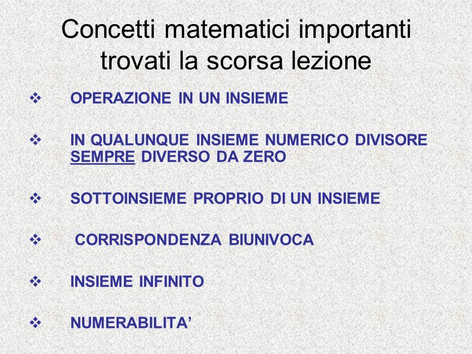 Concetti matematici importanti trovati la scorsa lezione