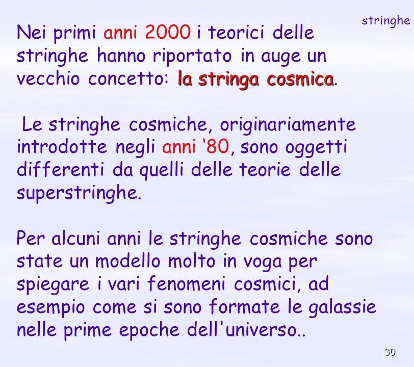 stringhe Nei primi anni 2000 i teorici delle stringhe hanno riportato in auge un vecchio concetto: la stringa cosmica.
