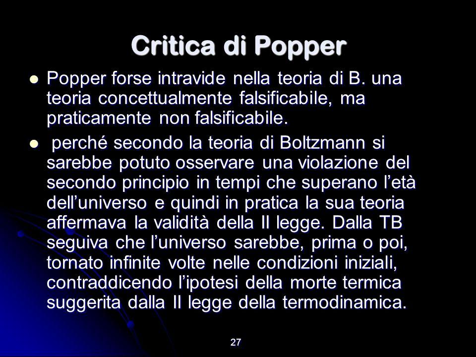 Critica di Popper Popper forse intravide nella teoria di B. una teoria concettualmente falsificabile, ma praticamente non falsificabile.