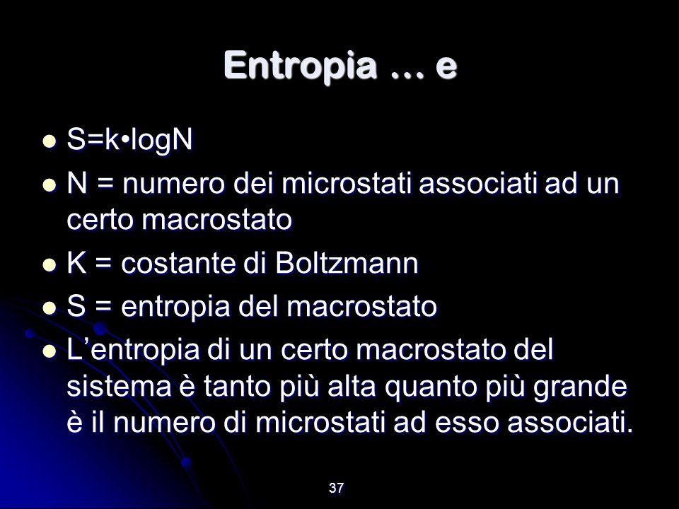 Entropia … e S=k•logN. N = numero dei microstati associati ad un certo macrostato. K = costante di Boltzmann.