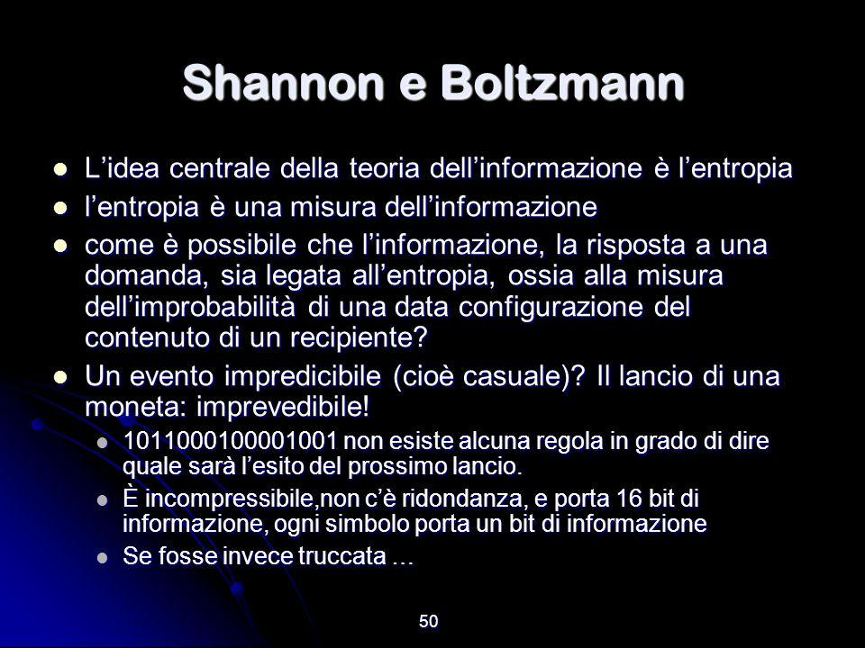Shannon e Boltzmann L'idea centrale della teoria dell'informazione è l'entropia. l'entropia è una misura dell'informazione.