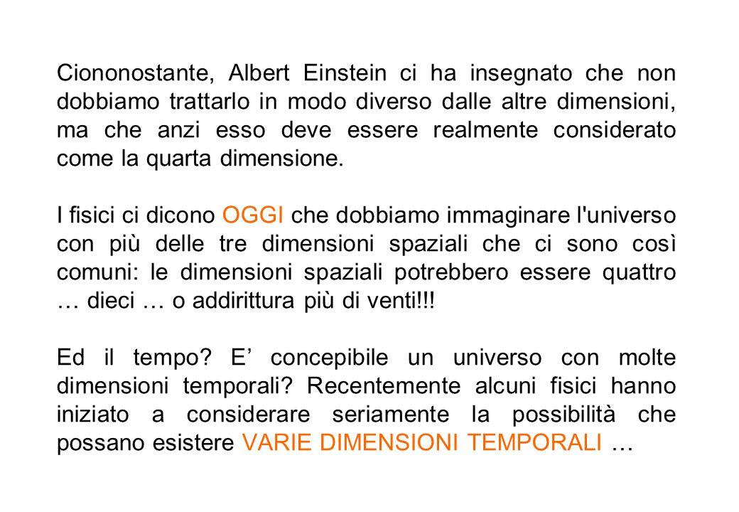 Ciononostante, Albert Einstein ci ha insegnato che non dobbiamo trattarlo in modo diverso dalle altre dimensioni, ma che anzi esso deve essere realmente considerato come la quarta dimensione.