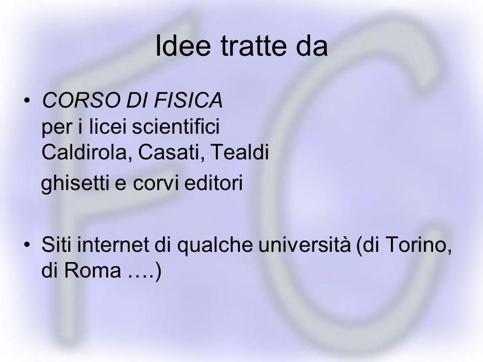 Idee tratte da CORSO DI FISICA per i licei scientifici Caldirola, Casati, Tealdi. ghisetti e corvi editori.