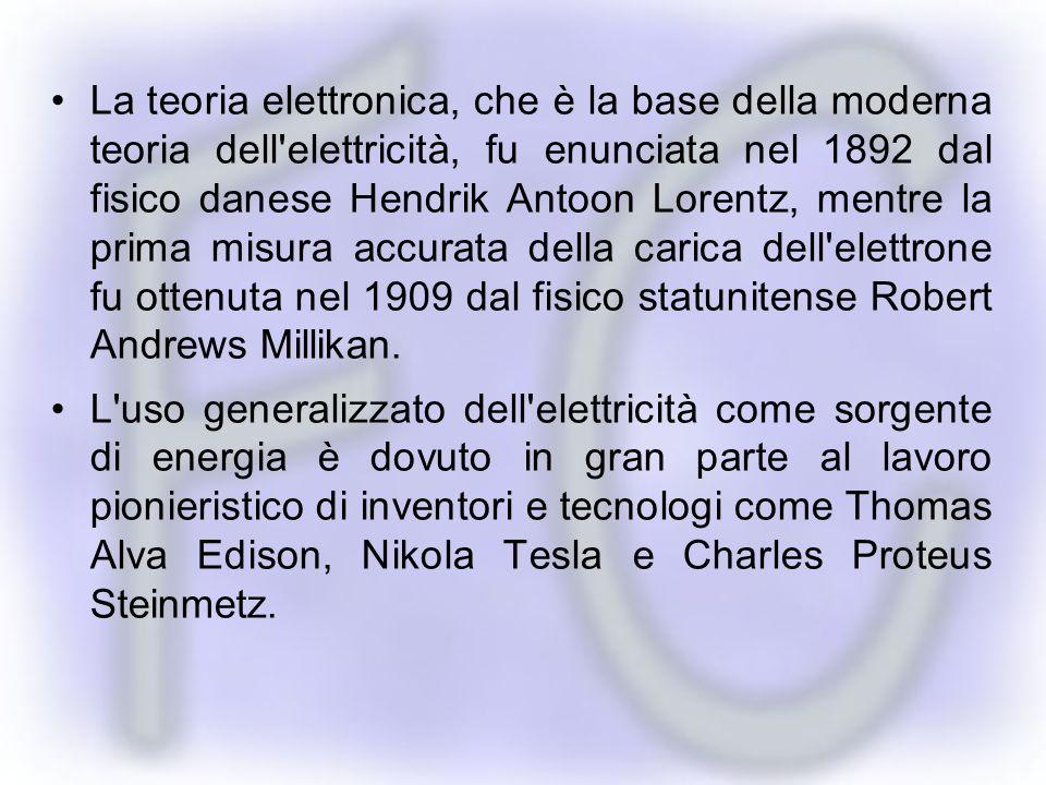 La teoria elettronica, che è la base della moderna teoria dell elettricità, fu enunciata nel 1892 dal fisico danese Hendrik Antoon Lorentz, mentre la prima misura accurata della carica dell elettrone fu ottenuta nel 1909 dal fisico statunitense Robert Andrews Millikan.