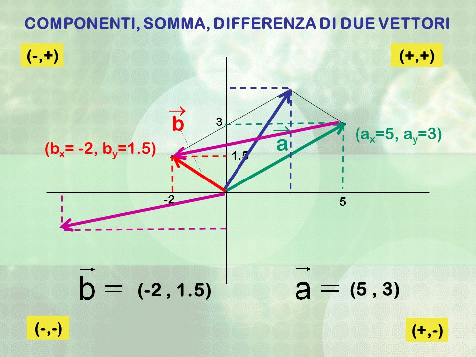 COMPONENTI, SOMMA, DIFFERENZA DI DUE VETTORI