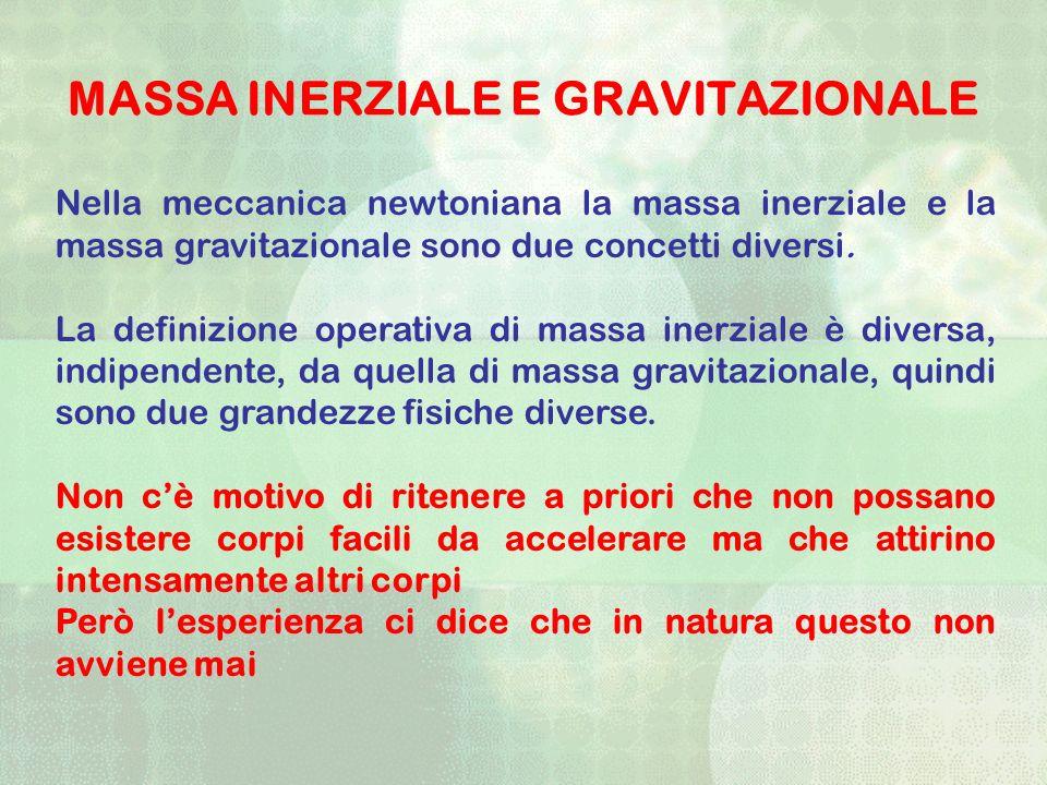 MASSA INERZIALE E GRAVITAZIONALE