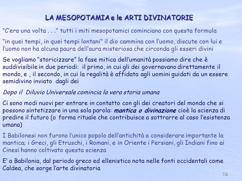 LA MESOPOTAMIA e le ARTI DIVINATORIE