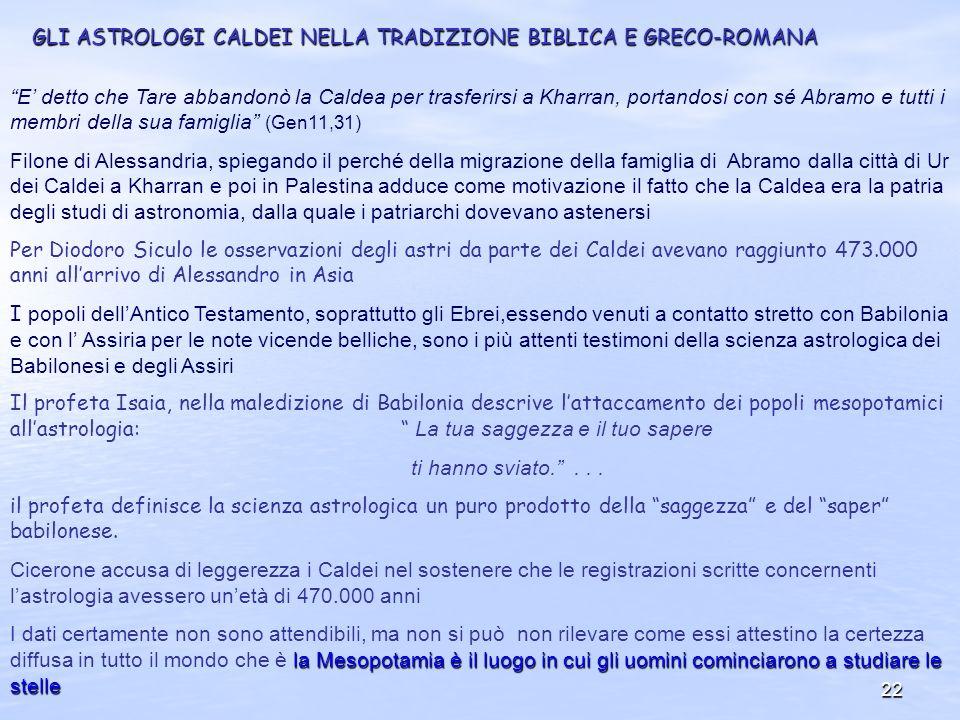 GLI ASTROLOGI CALDEI NELLA TRADIZIONE BIBLICA E GRECO-ROMANA
