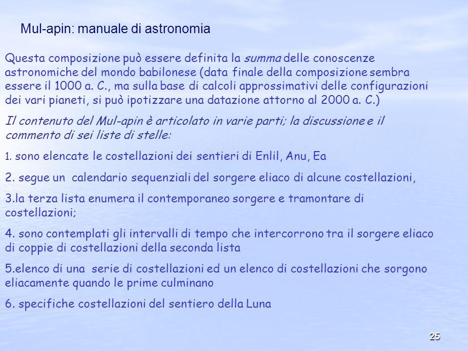 Mul-apin: manuale di astronomia