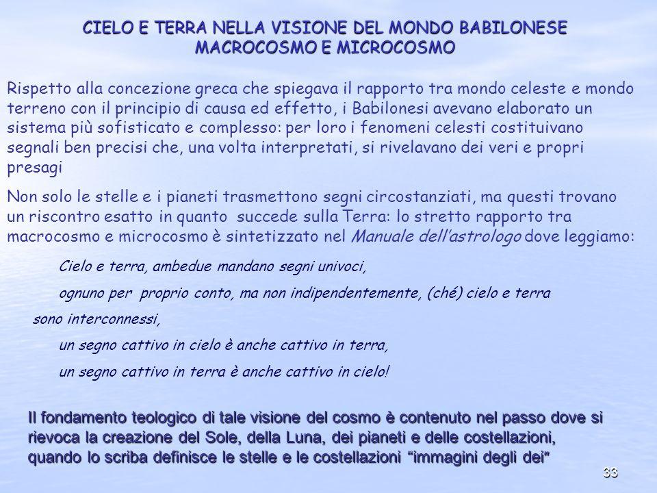 CIELO E TERRA NELLA VISIONE DEL MONDO BABILONESE MACROCOSMO E MICROCOSMO