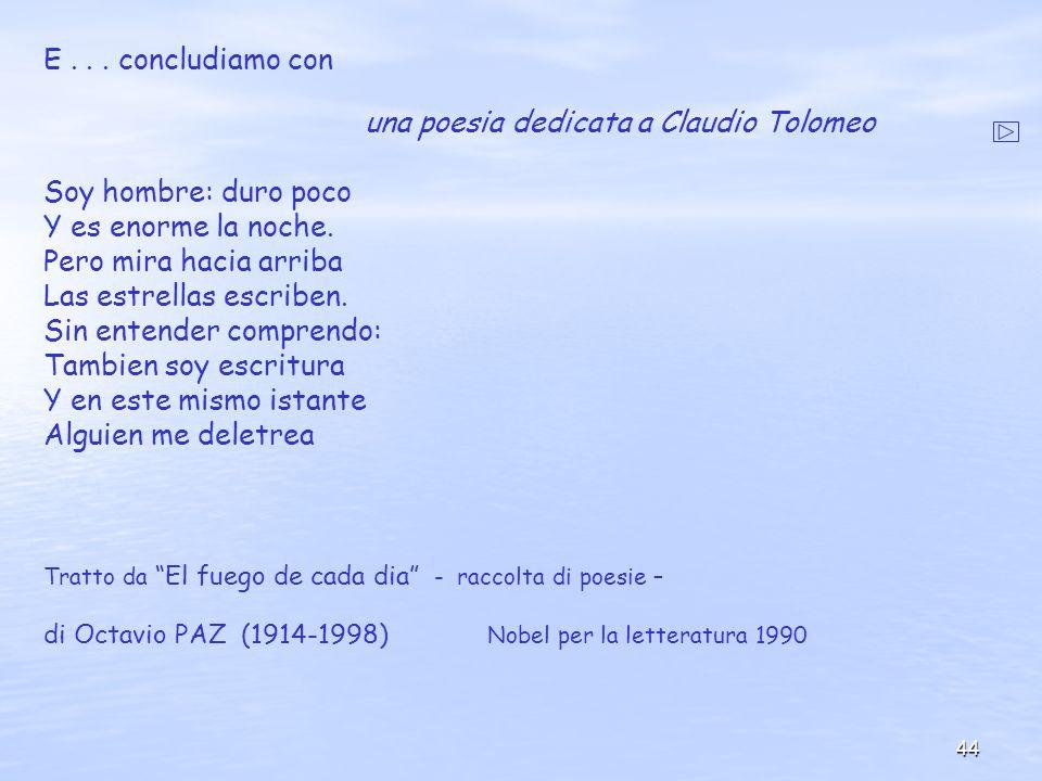 una poesia dedicata a Claudio Tolomeo Soy hombre: duro poco