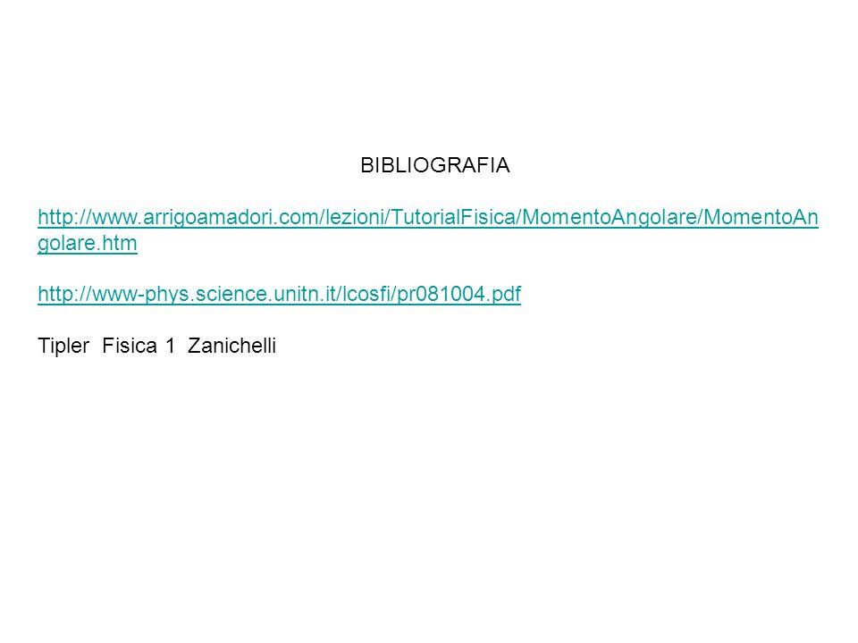 BIBLIOGRAFIA http://www.arrigoamadori.com/lezioni/TutorialFisica/MomentoAngolare/MomentoAngolare.htm.