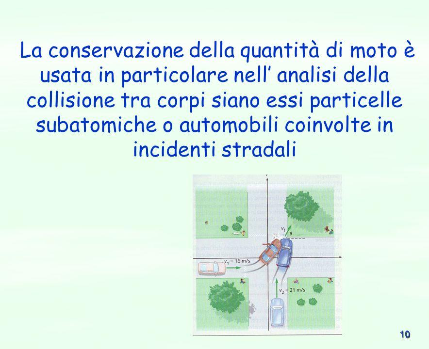 La conservazione della quantità di moto è usata in particolare nell' analisi della collisione tra corpi siano essi particelle subatomiche o automobili coinvolte in incidenti stradali