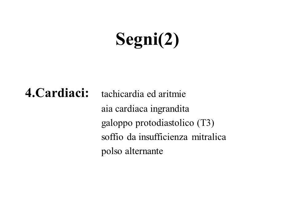 Segni(2) 4.Cardiaci: tachicardia ed aritmie aia cardiaca ingrandita