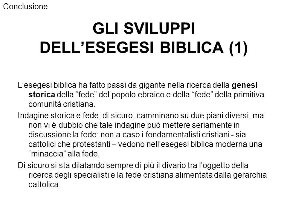 GLI SVILUPPI DELL'ESEGESI BIBLICA (1)