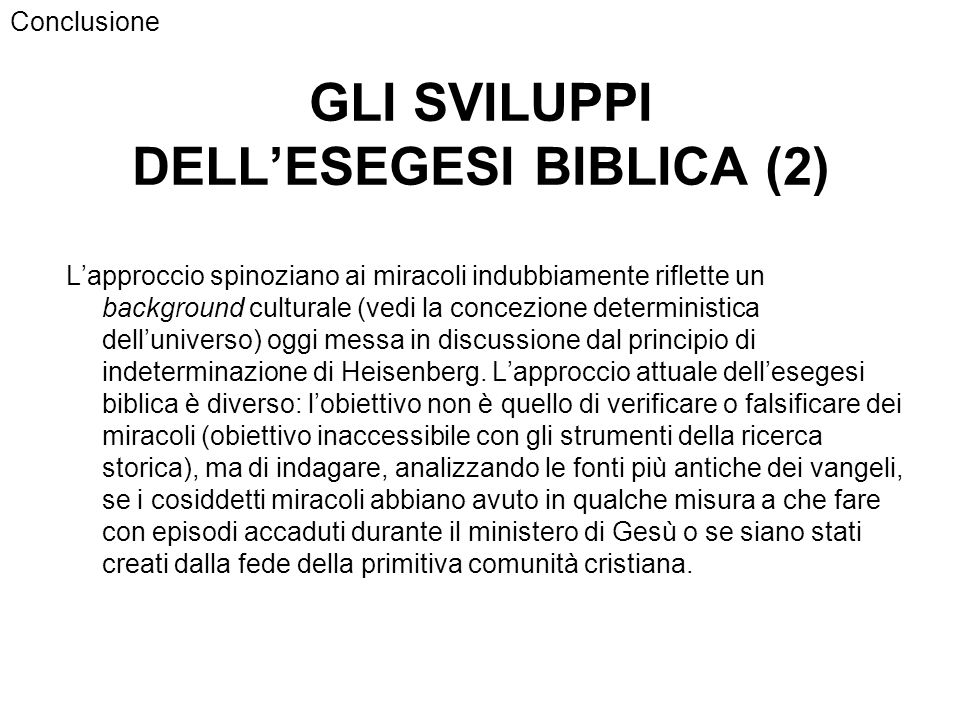 GLI SVILUPPI DELL'ESEGESI BIBLICA (2)