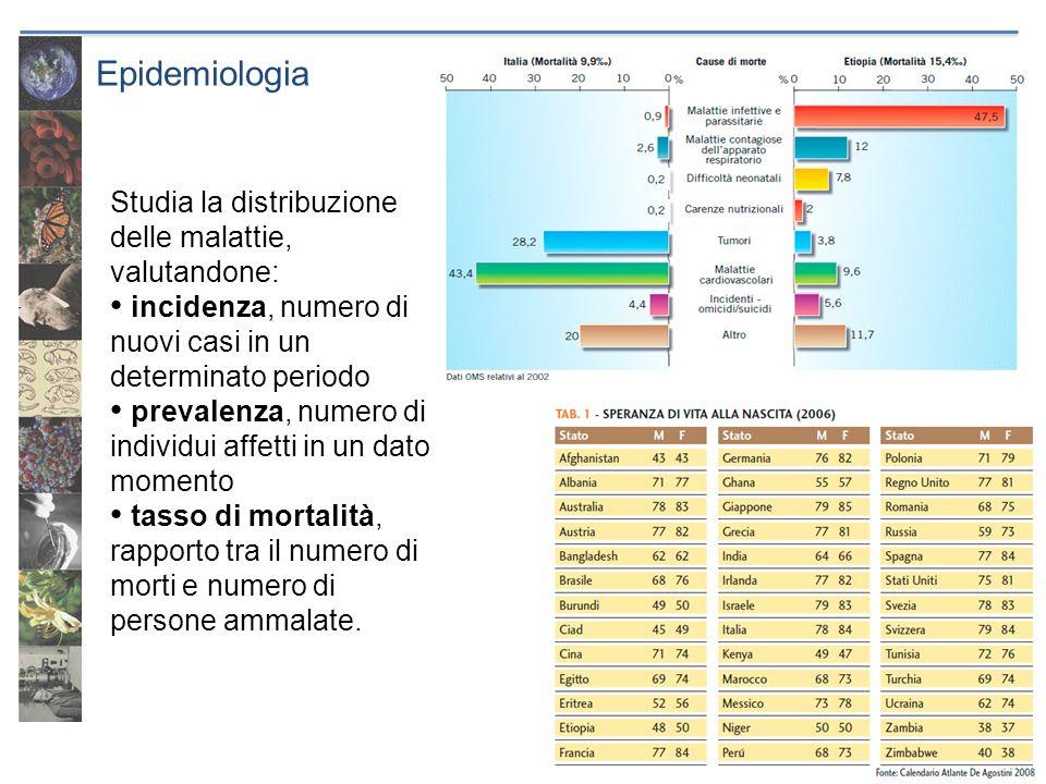 Epidemiologia Studia la distribuzione delle malattie, valutandone: