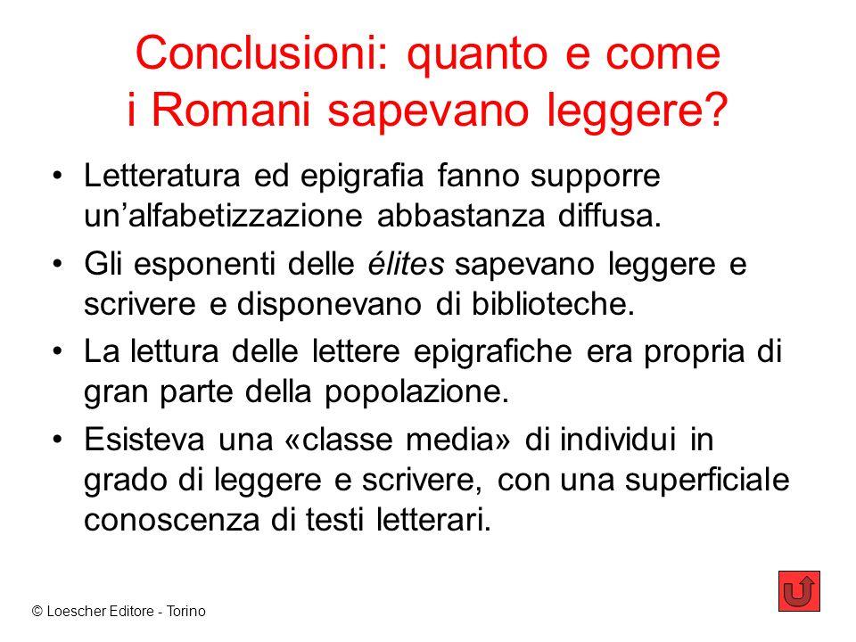Conclusioni: quanto e come i Romani sapevano leggere