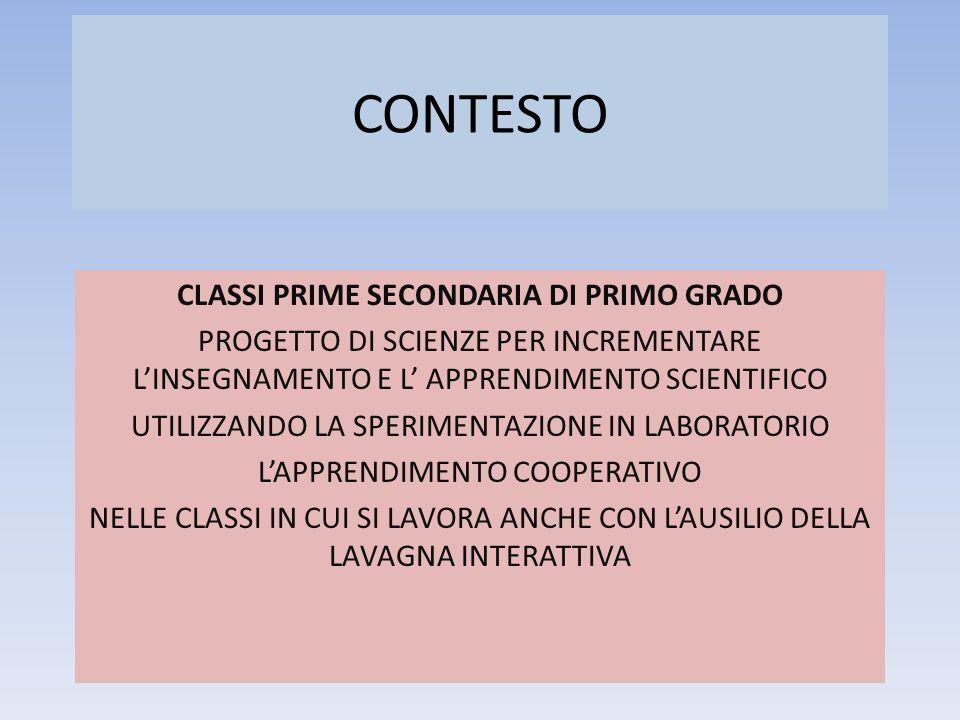 CLASSI PRIME SECONDARIA DI PRIMO GRADO