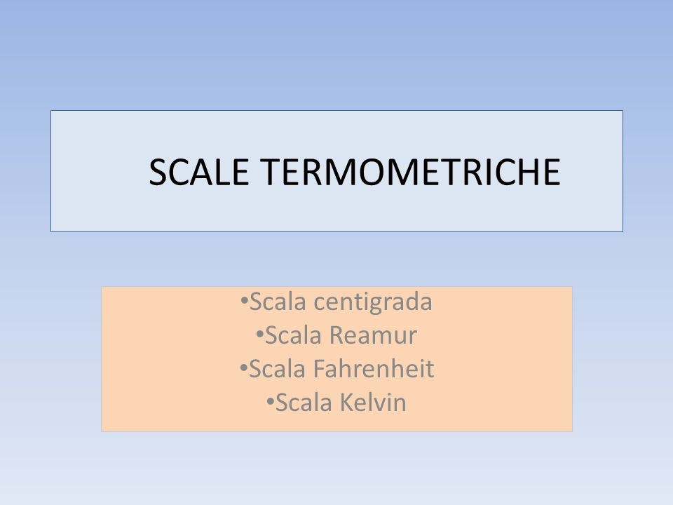 Scala centigrada Scala Reamur Scala Fahrenheit Scala Kelvin