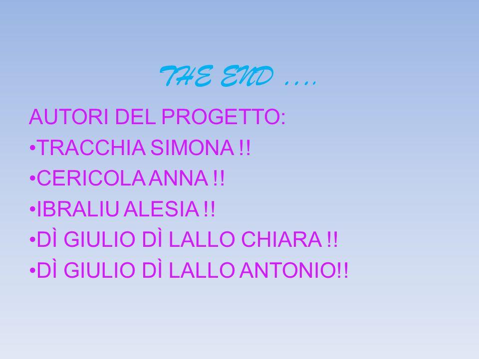 THE END …. AUTORI DEL PROGETTO: TRACCHIA SIMONA !! CERICOLA ANNA !!