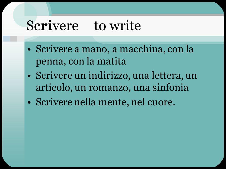 Scrivere to write Scrivere a mano, a macchina, con la penna, con la matita.