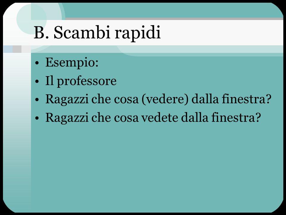 B. Scambi rapidi Esempio: Il professore