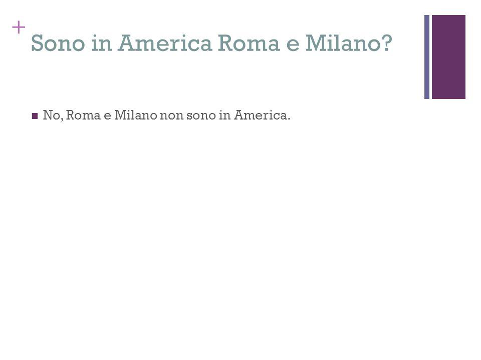 Sono in America Roma e Milano