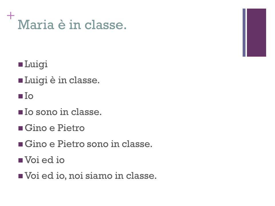 Maria è in classe. Luigi Luigi è in classe. Io Io sono in classe.