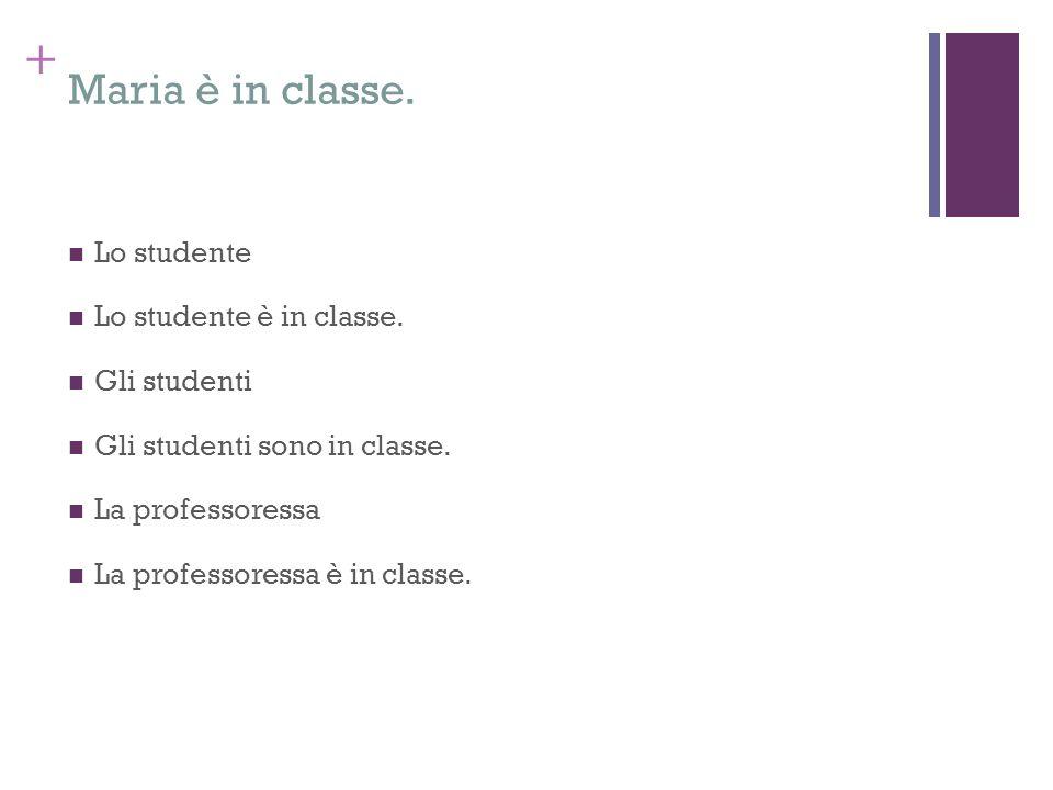Maria è in classe. Lo studente Lo studente è in classe. Gli studenti