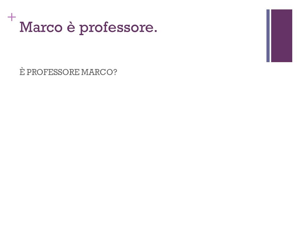 Marco è professore. È PROFESSORE MARCO
