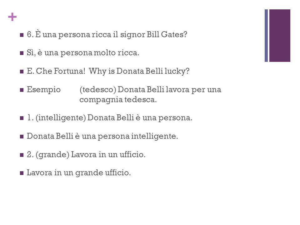 6. È una persona ricca il signor Bill Gates
