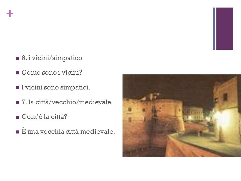 6. i vicini/simpatico Come sono i vicini I vicini sono simpatici. 7. la città/vecchio/medievale.