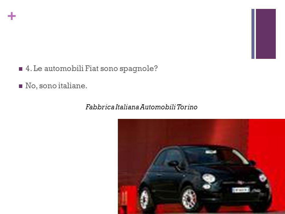 4. Le automobili Fiat sono spagnole No, sono italiane.