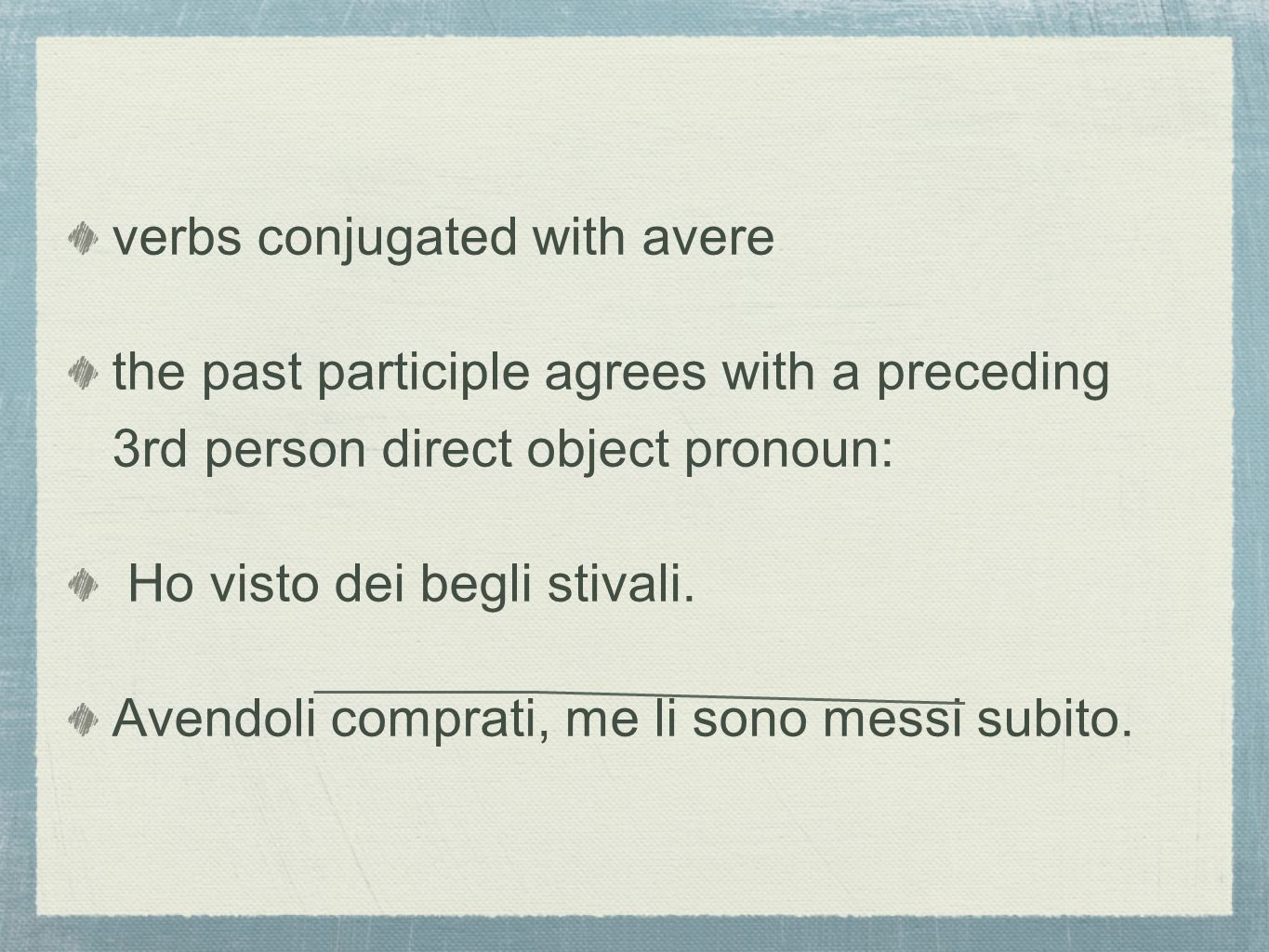 verbs conjugated with avere
