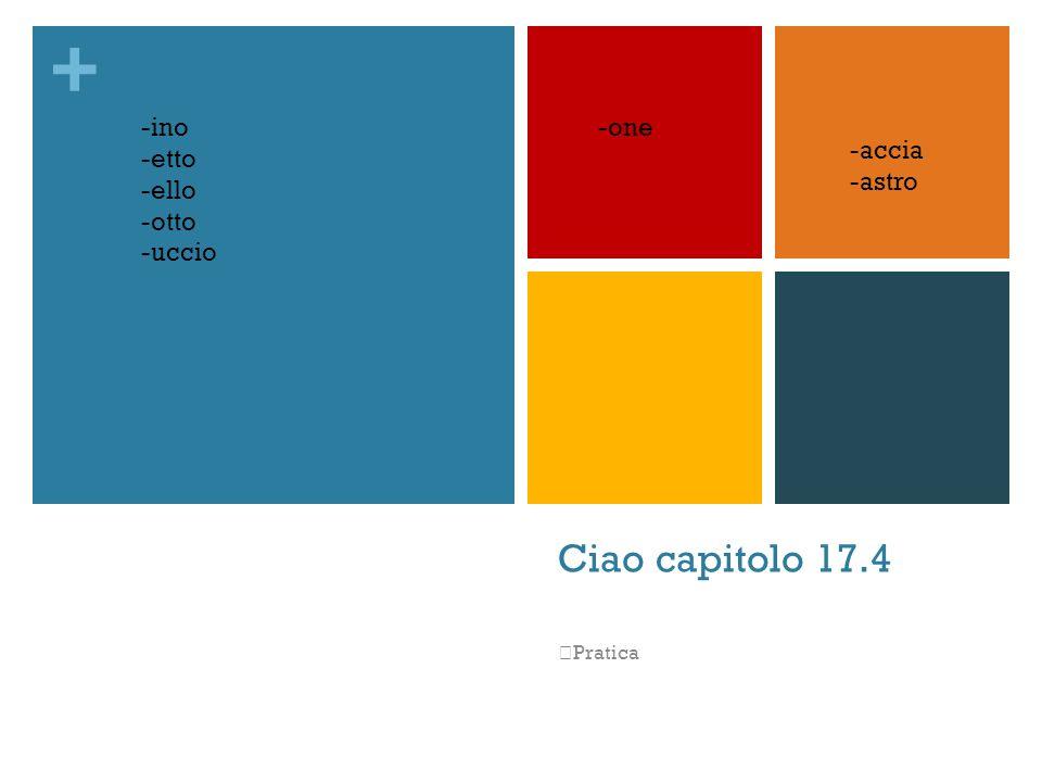 Ciao capitolo 17.4 -ino -etto -ello -otto -uccio -one -accia -astro