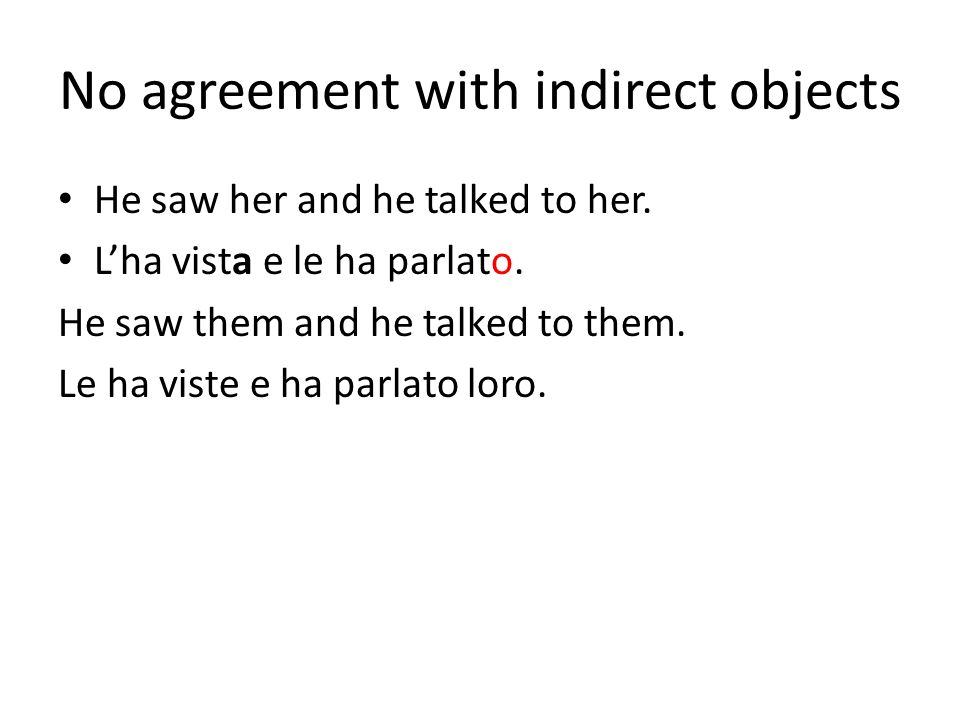 No agreement with indirect objects
