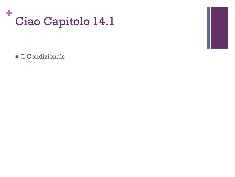 Ciao Capitolo 14.1 Il Condizionale